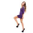 Beautiful woman in a purple dress