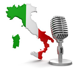 Microphone and Italy (clipping path included)