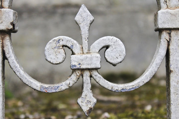 Wrought Iron Fleur-de-Lis in Pere-Lachaise Cemetery, Paris