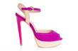Single pink and beige high hilled shoe on white background