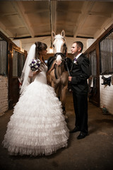 Newly married couple posing in stable with horse