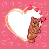 valentine day card with teddy