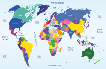 world geographical and political map