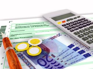 Steuerformular zwanzig Euro