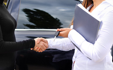 Clinching the purchase of a car and shaking hands