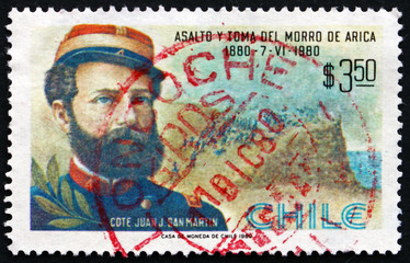 Postage stamp Chile 1980 Commander Juan San Martin, Battle Scene