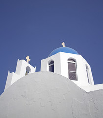 greek church over blue sky