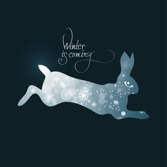 Winter is coming / Fairy illustration of bunny full of snow