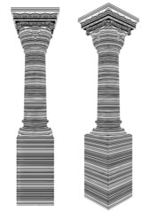 Classic Column Covered With Bar Code Zebra Stripes Vector