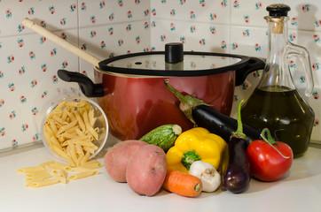 Misto verdure , con pasta
