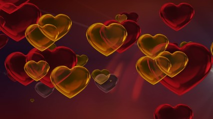 Gold and Red Valentine Hearts Motion Background