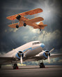 Retro style picture of the airliner. Transportation theme.