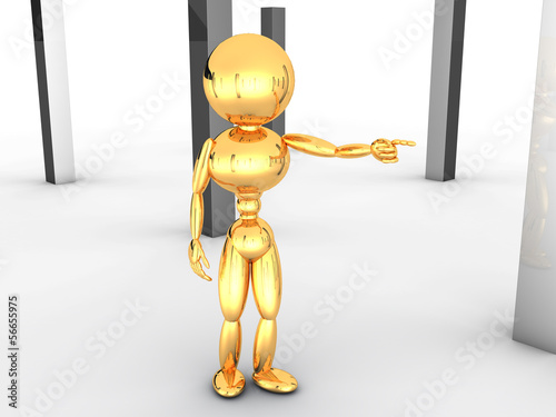 Golden man with black boxes #1
