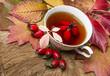 autumn still life with a cup of rosehip tea