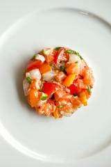 Tartare, saumon, poisson, cru, poivron, tomate, frais