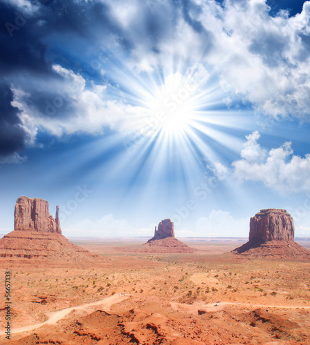Wonderful sky over the unique landscape of Monument Valley, Utah