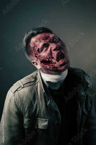 portrait of scary bad zombie at night