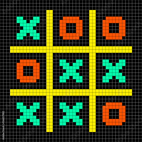 8-bit Pixel Art Noughts and Crosses - Stalemate Game