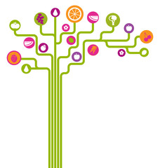 vector abstract tree with fruits and vegetables