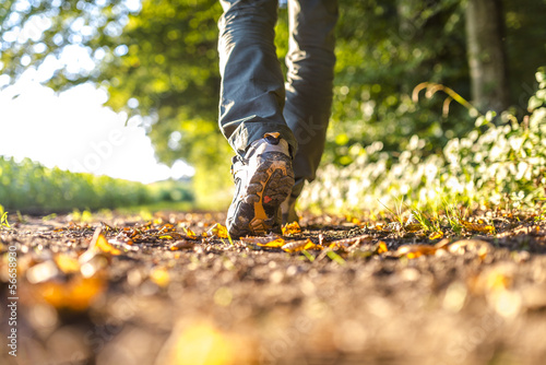 canvas print picture Detail of man hiking