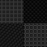 Black and white abstract geometric simple seamless patterns set