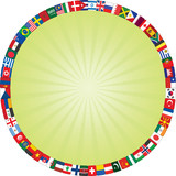 flags icons frame around green rays background
