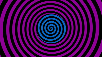 Loopable video - color rotating spiral. Animation for hypnosis