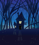 Night magic scene with a house in the woods.