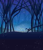 Night magic scene with fireflies and running squirrel.