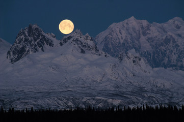 Full Moonrise over Mount McKinley Denali Range Alaska Midnight