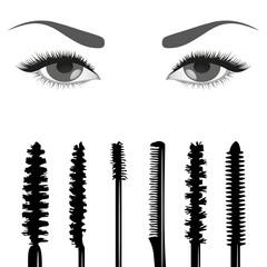 Set of mascara and eyes
