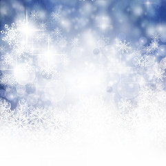 Merry Christmas: Blue Background with snowflakes and stars