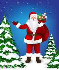 Santa Claus in the forest with a bag of gifts