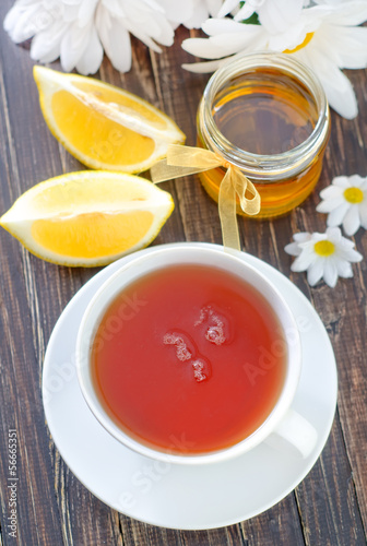 Tea with lemon and honey