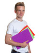 Smiling student with colorful record in his hand