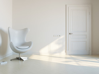 Minimalist White Interior Room With Luxury Armchair 2d Version