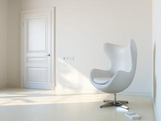 Minimalist White Interior Room With Luxury Armchair 1st Version