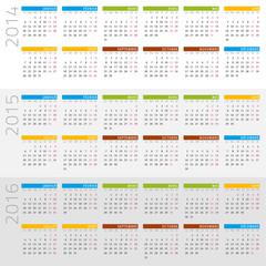 français calendrier 2014 - 2016