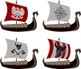 set of viking drakkars. stencils