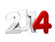 3D Year 2014 on white background