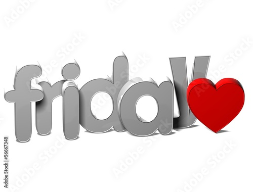 3D Word Friday on white background