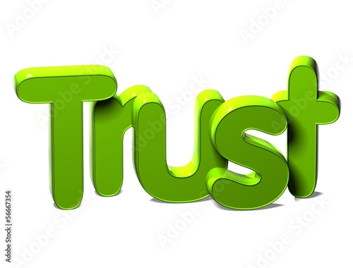 3D Green Word Trust on white background