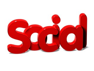 3D Word Social on white background