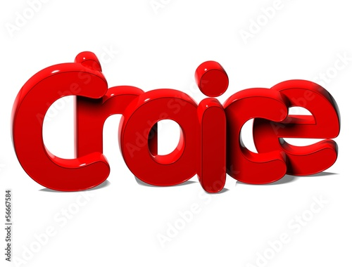 3D Red Word Choice on white background