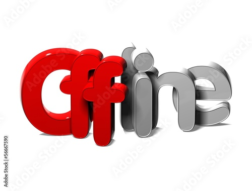 3D Word Offline on white background