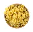 Small pasta shells in a bowl