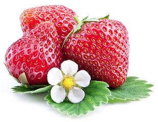 Strawberries with leaves isolated on a white.