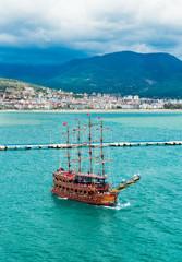 Cruise touristic ship in popular resort. Alanya,Turkey