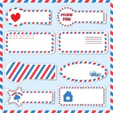 Set postal stickers of different shapes vector
