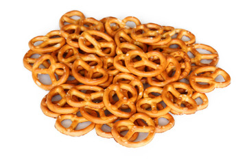 mini pretzel cookies on a white background
